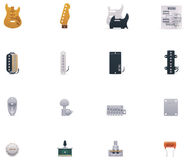 Vector guitar parts icon set. Set of the guitar parts and accessories related icons Royalty Free Stock Photos