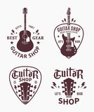 Vector guitar shop logo. Set of vector guitar shop logo. Music icons for audio store, branding, poster or t-shirt print royalty free illustration