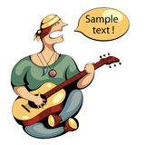 Vector guitarist. Guitar player with bubble text frame Stock Photography