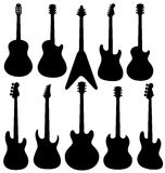 Vector Guitars. Vector isolated guitars silhouettes on white background Royalty Free Stock Image