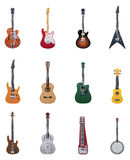 Vector guitars icon set. Set of the different types of guitar icons Royalty Free Stock Images