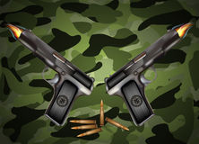 Vector gun with bullets. Related to Victory Day or 23 February Royalty Free Stock Image