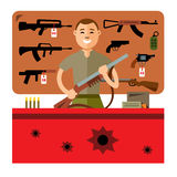 Vector Gun Shop. Flat style colorful Cartoon illustration. Stock Photos