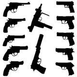 Vector guns set. Black illustration Stock Image