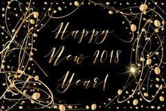 Vector guten Rutsch ins Neue Jahr-Hintergrund 2018 mit glänzenden Tropfen und funkeln Sie auf Schwarzem Lizenzfreie Stockfotos