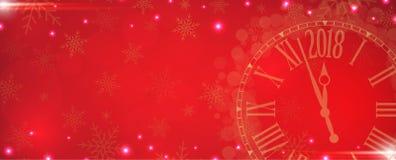 Vector 2018 guten Rutsch ins Neue Jahr mit Golduhr auf rotem Hintergrund stock abbildung