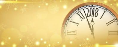 Vector 2018 guten Rutsch ins Neue Jahr mit Retro- Uhr auf Goldschneeflocken stock abbildung