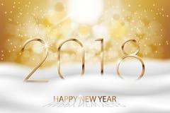 Vector guten Rutsch ins Neue Jahr 2018 - neues Jahr-bunter Winterhintergrund mit Goldtext Fahne des Gruß-neuen Jahres mit Schnee  vektor abbildung