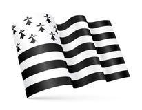 Vector Gwen-ha-du 3D Breton waving flag  on white background Stock Photo
