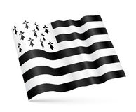 Vector Gwen-ha-du 3D Breton waving flag  on white background Stock Images