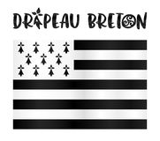 Vector Gwen-ha-du flat Breton flag with stylized sign in French Royalty Free Stock Photography