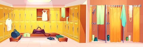 Vector gym - changing room with shower cabins. Vector gym interior - changing room with lockers and shower cabins with curtains. Sport club concept - dressing royalty free illustration