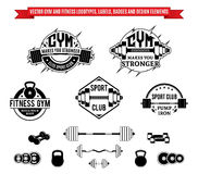 Vector Gym and Fitness Labels, Badges and Design Elements Royalty Free Stock Photography