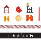 Vector H letter logo pack Royalty Free Stock Images