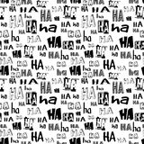 Vector. HA HA seamless pattern. Funny background suitable for paper or textile print, card or web background. No background color,. Black letters Royalty Free Stock Photo