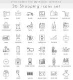 Vector hacer compras línea ultra moderna iconos del esquema para el web y los apps Imagenes de archivo