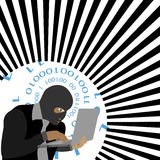 Vector -Hacker with computer wearing balaclava Stock Image