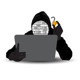 Vector-Hacker with computer wearing balaclava Royalty Free Stock Images