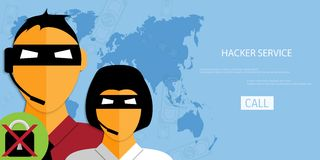 Vector hacker service web icon. Stock Photo
