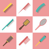 Vector hair brushes objects Stock Photo