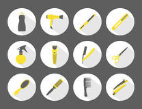 Vector hairdresser icons set with shadows Royalty Free Stock Image