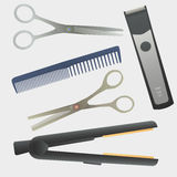 Vector hairdressing tools. Stock Image