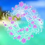 Vector hairline circular floral wreaths with summer flowers Royalty Free Stock Photos