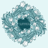 Vector hairline circular floral wreaths with summer flowers Royalty Free Stock Photo