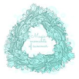 Vector hairline triangle floral wreaths with summer flowers Stock Photography