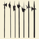 Vector Halberds Silhouettes Set Stock Photography