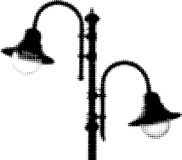 Vector half-tones image of lamps royalty free illustration