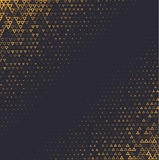 Vector halftone abstract background, black gold gradient gradation. Geometric mosaic triangle shapes monochrome pattern. Simple backdrop design Stock Images