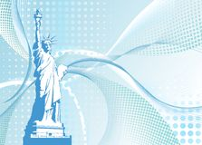 Vector halftone background with American Statue Of Liberty Stock Photography