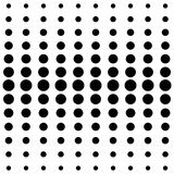 Vector halftone dots. Black dots on white background. Black dots on white background. Halftone black and white pattern. Modern geometric texture. Repeating vector illustration