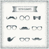 Vector halftone dots hipster icon over vintage Royalty Free Stock Images