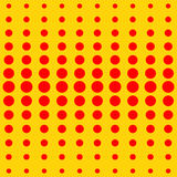 Vector halftone dots. Red dots on yellow background. Stock Images