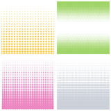 Vector halftone dots. Set of color halftone dotted backgrounds. Stock Image