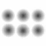 Vector halftone effects set. Monochrome dots in circles stock illustration