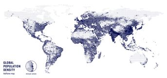 Vector halftone map of global population density. Vector halftone map of global population density on a white background Royalty Free Stock Image