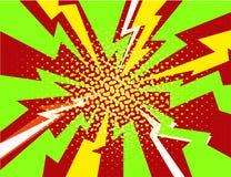 Vector halftone pop art comic style lightning explosion background. Vector halftone pop art comic style lightning vector background Stock Images