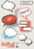 Vector Halftone Speech Bubbles. Halftone pattern speech bubbles for designs. Layered vector illustration Stock Illustration