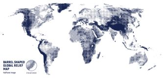 Vector halftone world relief map. Vector halftone world map according to relief on a white background Stock Photography