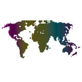 Vector halftone world map. Continents for your design. Royalty Free Stock Images