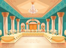 Vector hall for banquet, interior of ballroom. Vector hall for banquet, wedding. Interior of ballroom with tables, chairs for feast, celebration or royal royalty free illustration