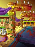 Vector artwork of a hall in a castle in cartoon style. stock illustration