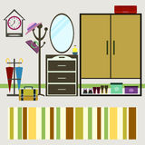 Vector hall interior. furniture and mirror, clothes hanger and a Royalty Free Stock Photography