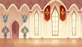 Vector hall in medieval castle, royal ballroom. Vector castle hall, hallway in medieval palace, ballroom for dancing and royal receptions. Rich interior with royalty free illustration