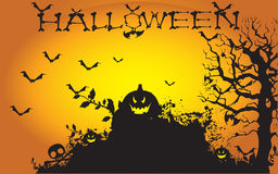 Vector Halloween Background. Vector yellow black Halloween Background Royalty Free Stock Images