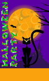 Vector halloween background with cat, moon, castle and original text greeting for party  print flyer. Royalty Free Stock Images