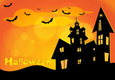 Vector Halloween background with flying bats, old Stock Photo